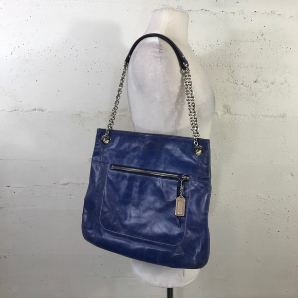 6c70a902cf Coach Blue Leather Chain Strap Shoulder Tote Bag
